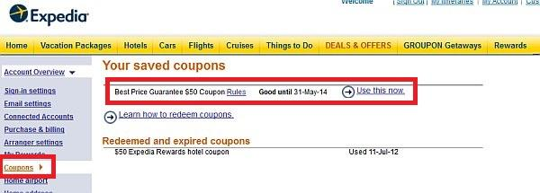 Expedia Best Price Guarantee Coupon Account