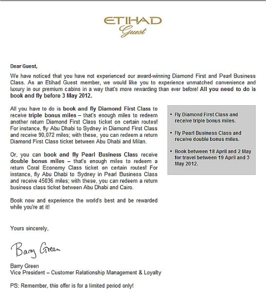 Etihad Offering Targeted Double & Triple Miles for Business and ...
