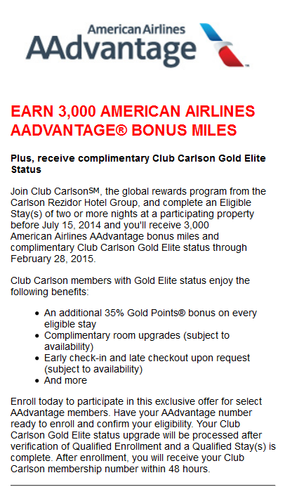 Club Carlson American Airlines Gold Offer