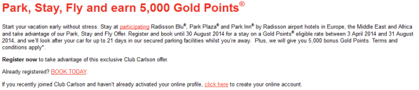 Club Carlson Park Stay Fly Promotion