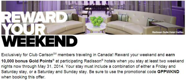 Club Carlson Rewards Your Weekend 10,000 Bonus Points Offer