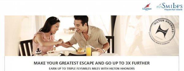 Hilton HHonors Sri Lankan FlySmiles Triple Miles April June 2014