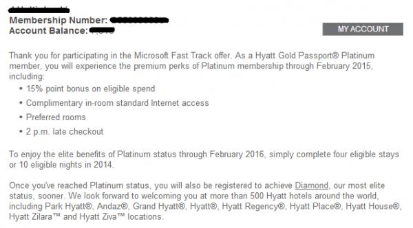 Hyatt Gold Passport Microsoft Fast Track Email Confirmation Body