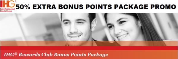 IHG Rewards Club Bonus Points Package 50 Percent Bonus April 15 July 15 2013