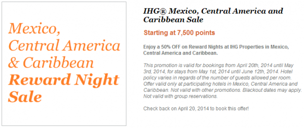 IHG Rewards Club Mexico Central America & Caribbean 50 Percent Off Award Sale 2014