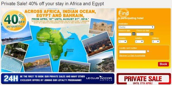 Le Club Accorhotels Private Sale Africa & Egypt April 2014