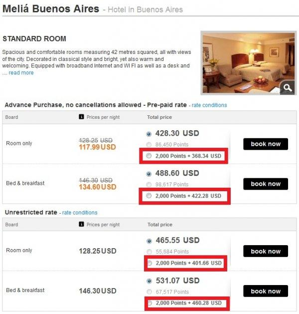Melia Buenos Aires Points + Cash Example