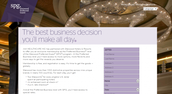 SPG Preferred Guest Plus Sign Up Page