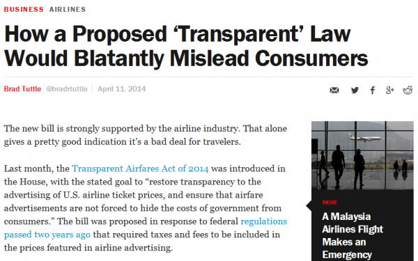 Transparent Airfares Time