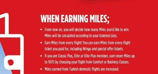 Turkish Airlines Miles&Smiles New Earnings