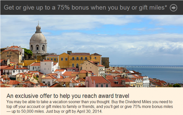 US Airways Buy & Share Miles Offer April 2014