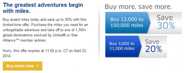 United Airlines Buy Miles April 2014 30 Percent Bonus Text