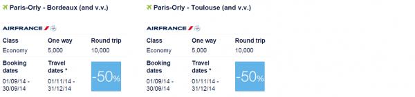 Air France-KLM Flying Blue Promo Awards September 2014 Europe 5