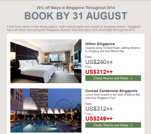 Hilton HHonors Singapore 20 Percent Off August 2014