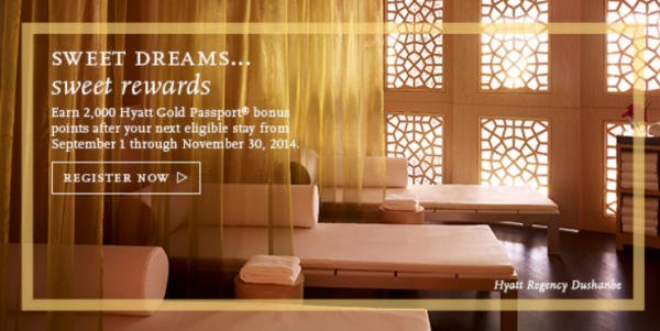 Hyatt Gold Passport Autumn 2014 Stay 1 Get 2000 Bonus Points