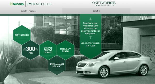National Emerald Club One-Two-Free 2014