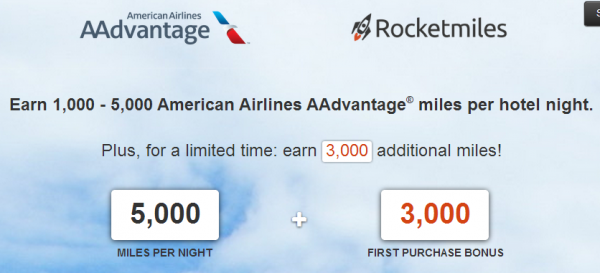 Rocketmiles American Airlines First Booking Bonus 3,000 Miles