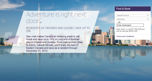 Starwood Ontario Quebec Resident Discount 2014