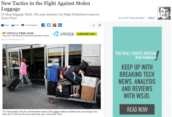 WSJ New Tactics in the Fight Against Stolen Luggage