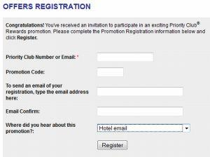 Priority Club Offer Registeration