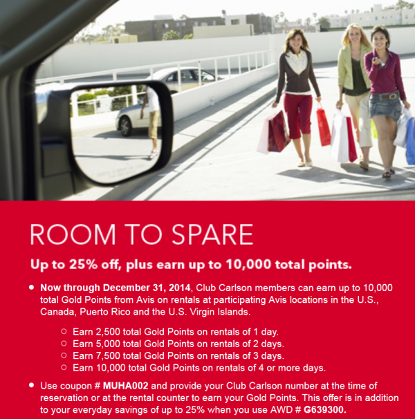 Avis Club Carlson Up To 10,000 Points Per Rental December 31 2014