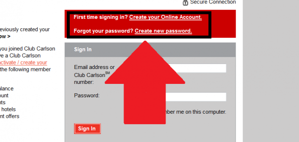 Club Carlson Password Issues