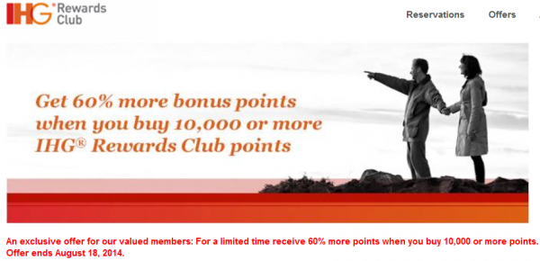 IHG Rewards Club Buy Points July August 2014 Campaign