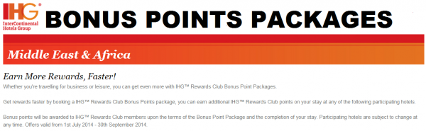 IHG Rewards Club Middle East & Africa Bonus Points Packages July 1 September 30 2014