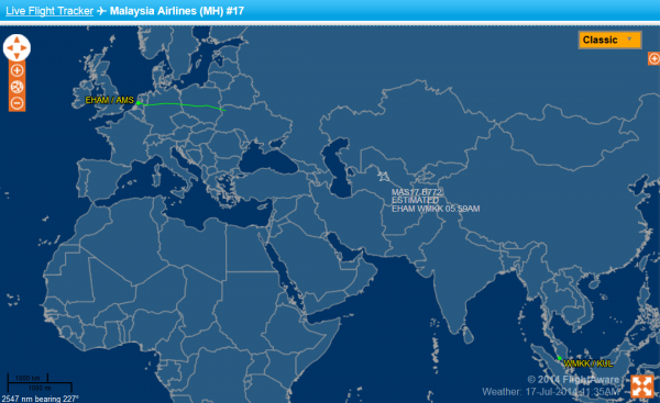 Malaysia Airlines MH17 Flight Aware