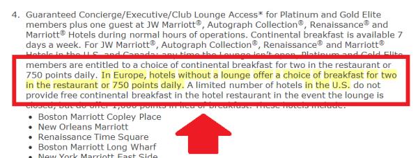 Marriott Rewards Gold & Platinum Free Breakfast Update T&C