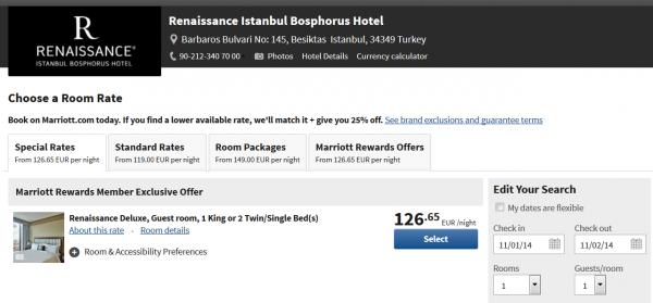 Marriott Rewards Turkey 2,000 Weekend Bonus Offer Renaissance Istanbul Bosphorus