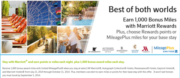 Marriott Rewards United MileagePlus 1,000 Bonus Miles Per Stay Promo July 23 October 31 2014