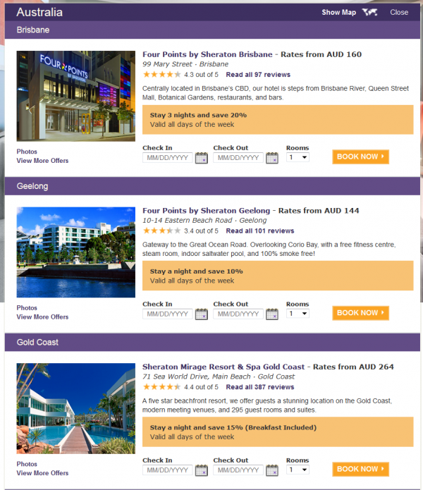 SPG Australia New Caledonia Fiji Double Points & Up To 50 Percent Off Australia