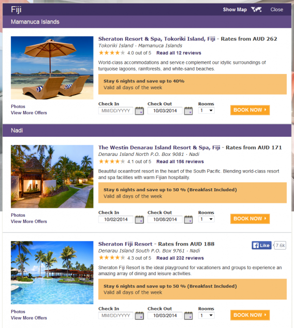 SPG Australia New Caledonia Fiji Double Points & Up To 50 Percent Off Fiji