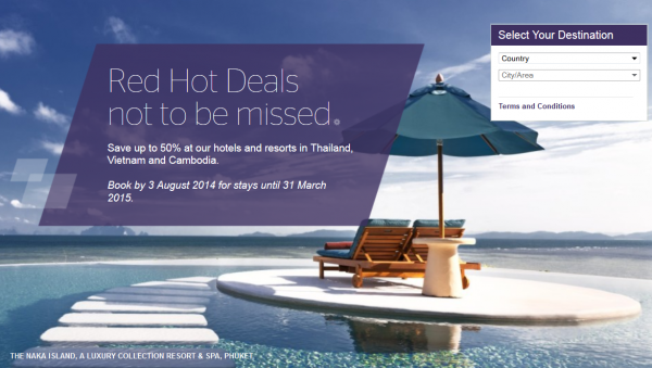 Starwood Asia Pacific Red Hot Deals Thailand Cambodia Vietnam