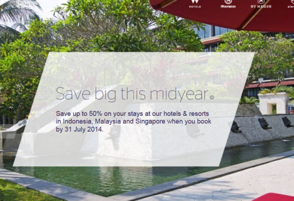 Starwood Singapore Malaysia Indonesia Up To 50 Percent Off Sale