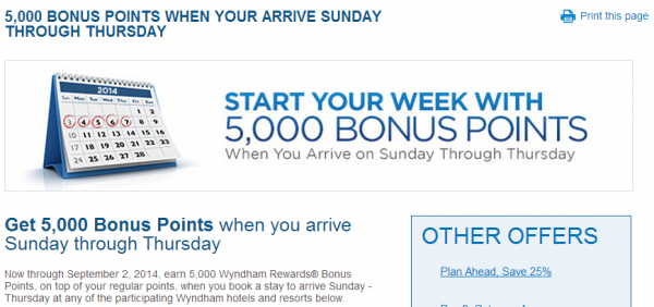 Wyndham Reward 5,000 Bonus Points Per Stay