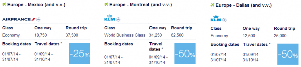 Air France-KLM Flying Blue Promo Awards July 2014 North  America 1