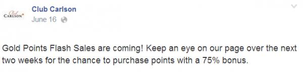 Club Carlson Gold Points Flash Sales June 2014