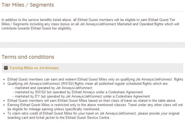 Etihad Jet Airways Partnership Guest Tier Miles Segments