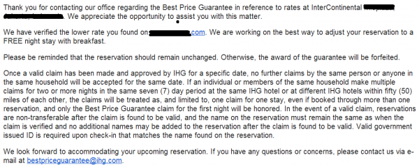 IHG Best Price Guarantee Confirmation EMail