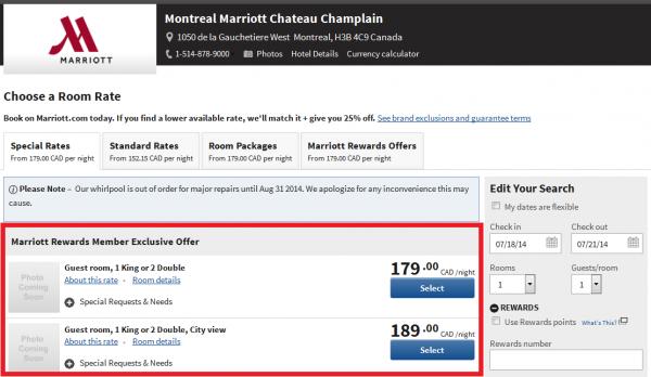 Marriott Rewards Air Canada Aeroplan 3,000 Bonus Miles Offer Montreal Marriott Chateau Champlain