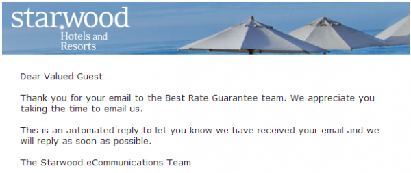 Starwood Best Rate Guaranteed Expedia Claim Validation Confirmation Email