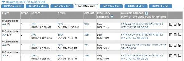 American Airlines A321T NYC-SFO Bonus Schedule