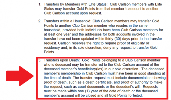 Club Carlson Terms & Conditions Update Text