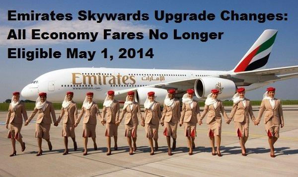 Emirates Skywards Economy Fare Upgrade Changes May 1 2014