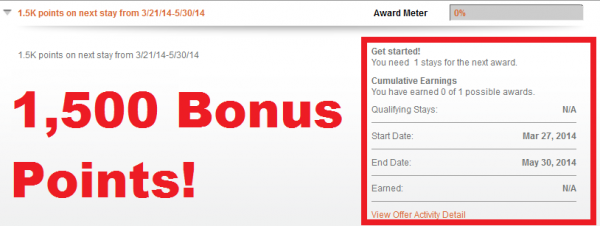 IHG Rewards Club Kick-Start Club Promotion 1034 Tracking