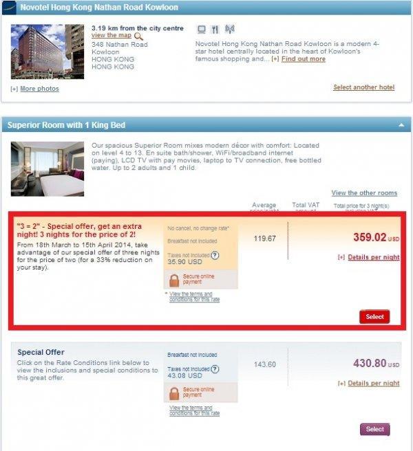Le Club Accorhotels 3=2 Sale March 2014 Novotel Nathan Road Hong Kong 1
