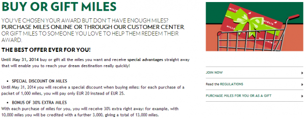 Alitalia Millemiglie Buy Gift Miles Promotion