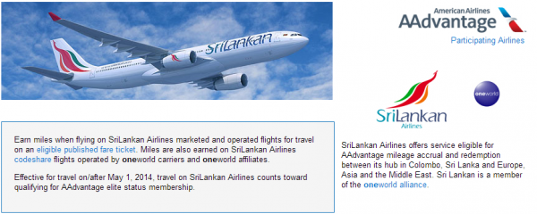 American Airlines SriLankan Airlines Earning Chart